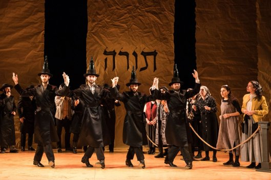 The cast of the off-Broadway production of Fiddler on the Roof doing the Bottle Dance. Photo courtesy of Matthew Murphy