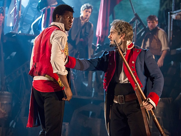 Kyle Scatliffe as Enjolras & Ramin Karimloo as Jean Valjean in Les Miserables. Photography courtesy of Matthew Murphy