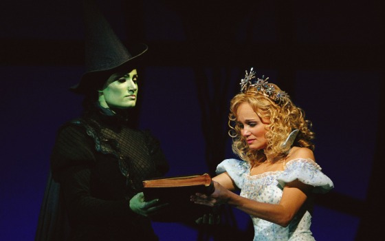 Idina Menzel and Kristin Chenoweth playing Elphaba and Glinda in Wicked, respectively. Photograph taken by Joan Marcus.