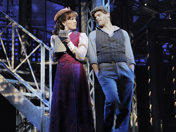 Kara Lindsay and Jeremy Jordan as Jack Kelly in Newsies. Photo by Deen van Meer
