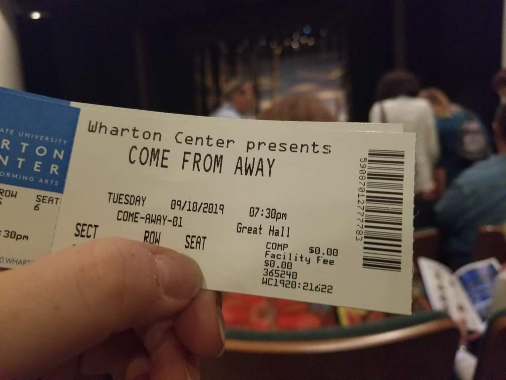 Come From Away media ticket Photo courtesy of theatrenibbles.com