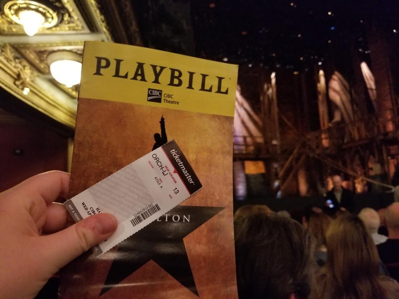 Hamilton orchestra seats in Chicago | Photo courtesy of theatrenibbles.com